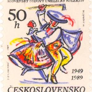 Czech folk dance stamp 1